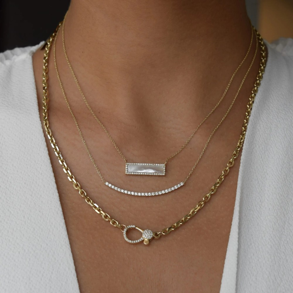 Diamond 2-Sided Lobster Clasp Cut Cable Chain Necklace