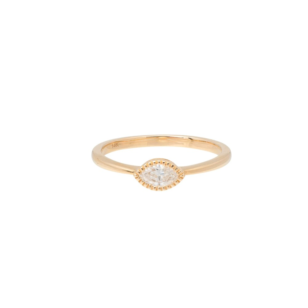 Diamond Beaded Marquise Stacking Ring Yellow Gold