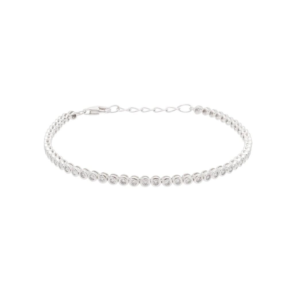 Diamond Round Bezel Set Tennis Bracelet White Gold