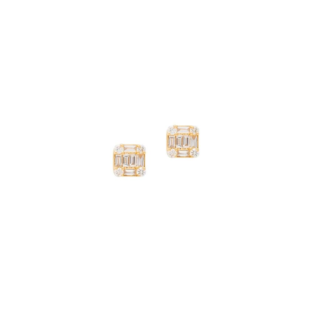 Diamond Square Baguette Earrings Yellow Gold