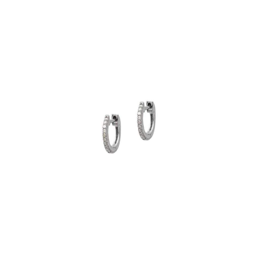 Mini Diamond Huggie Hoops Sterling Silver