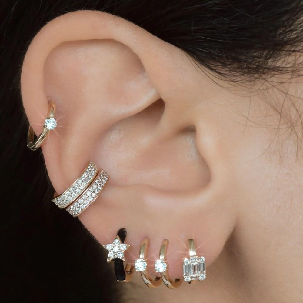 Single Diamond Small Huggie Earrings