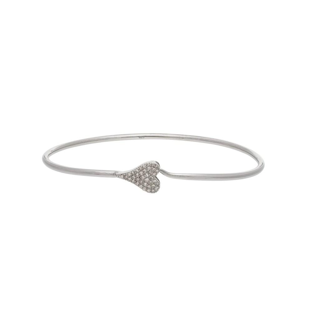 Diamond Modern Heart Wire Bracelet Sterling Silver