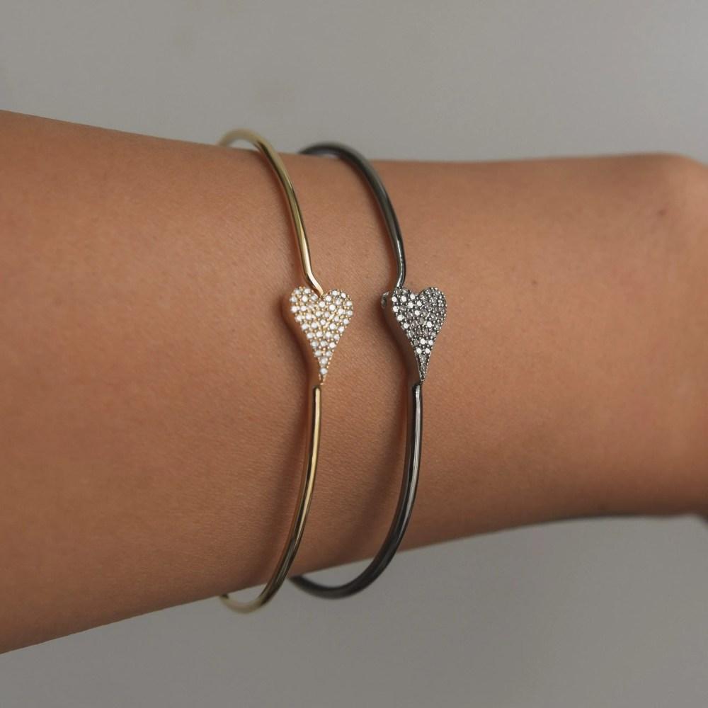 Diamond Modern Heart Wire Bracelet