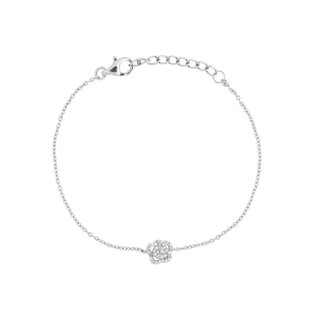 Diamond Rose Chain Bracelet Sterling Silver