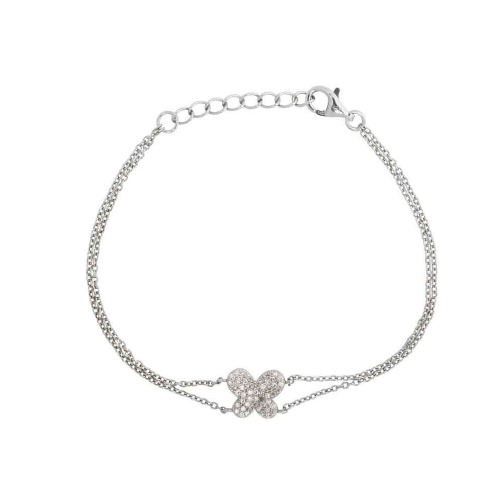 Diamond Butterfly Double Chain Bracelet Sterling Silver