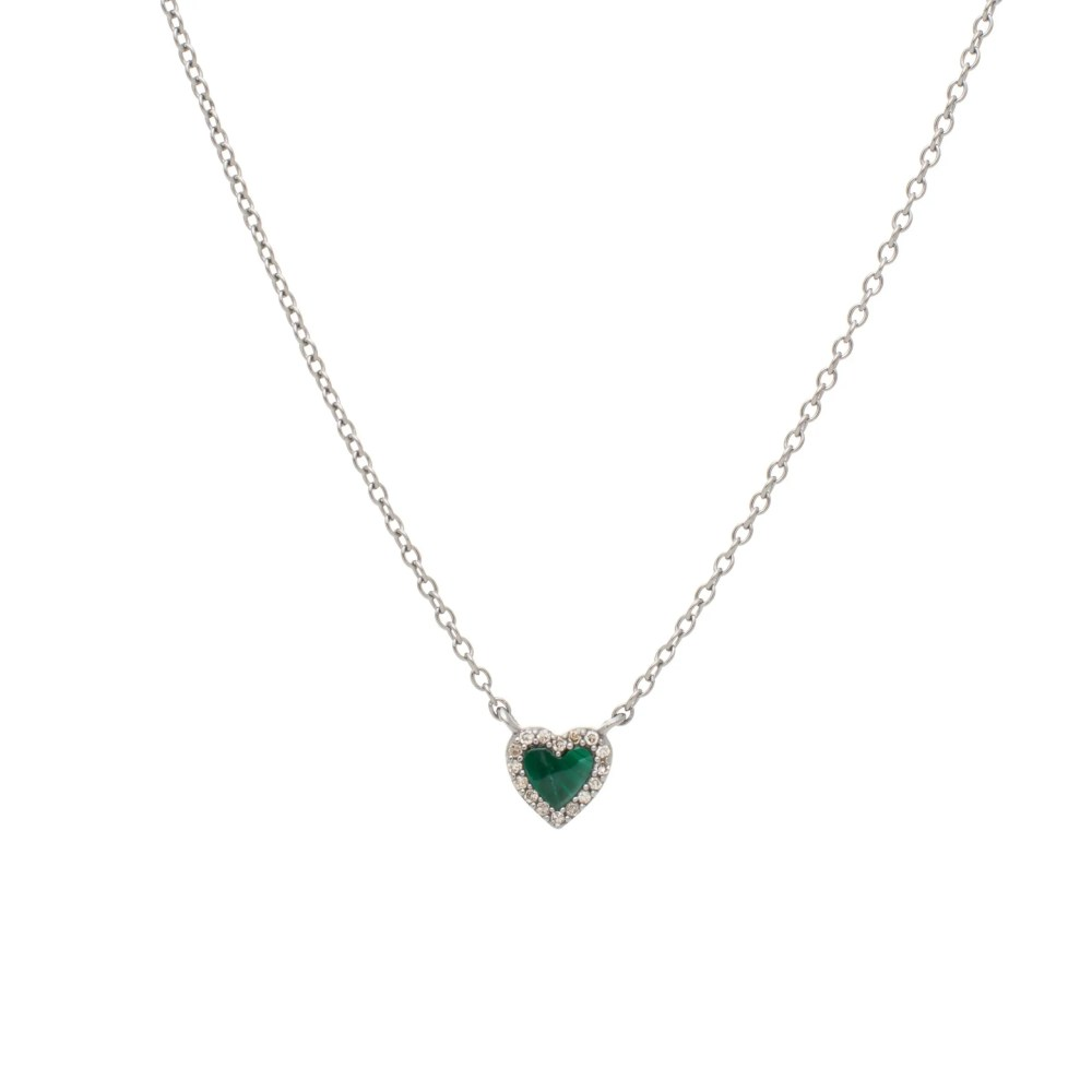 Diamond Mini Malachite Heart Necklace Sterling Silver
