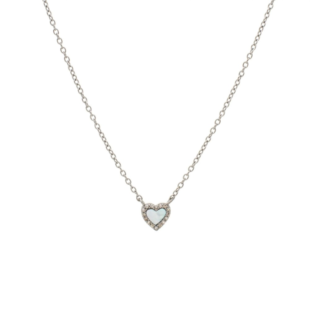 Diamond Mini Mother-of-Pearl Heart Necklace Sterling Silver