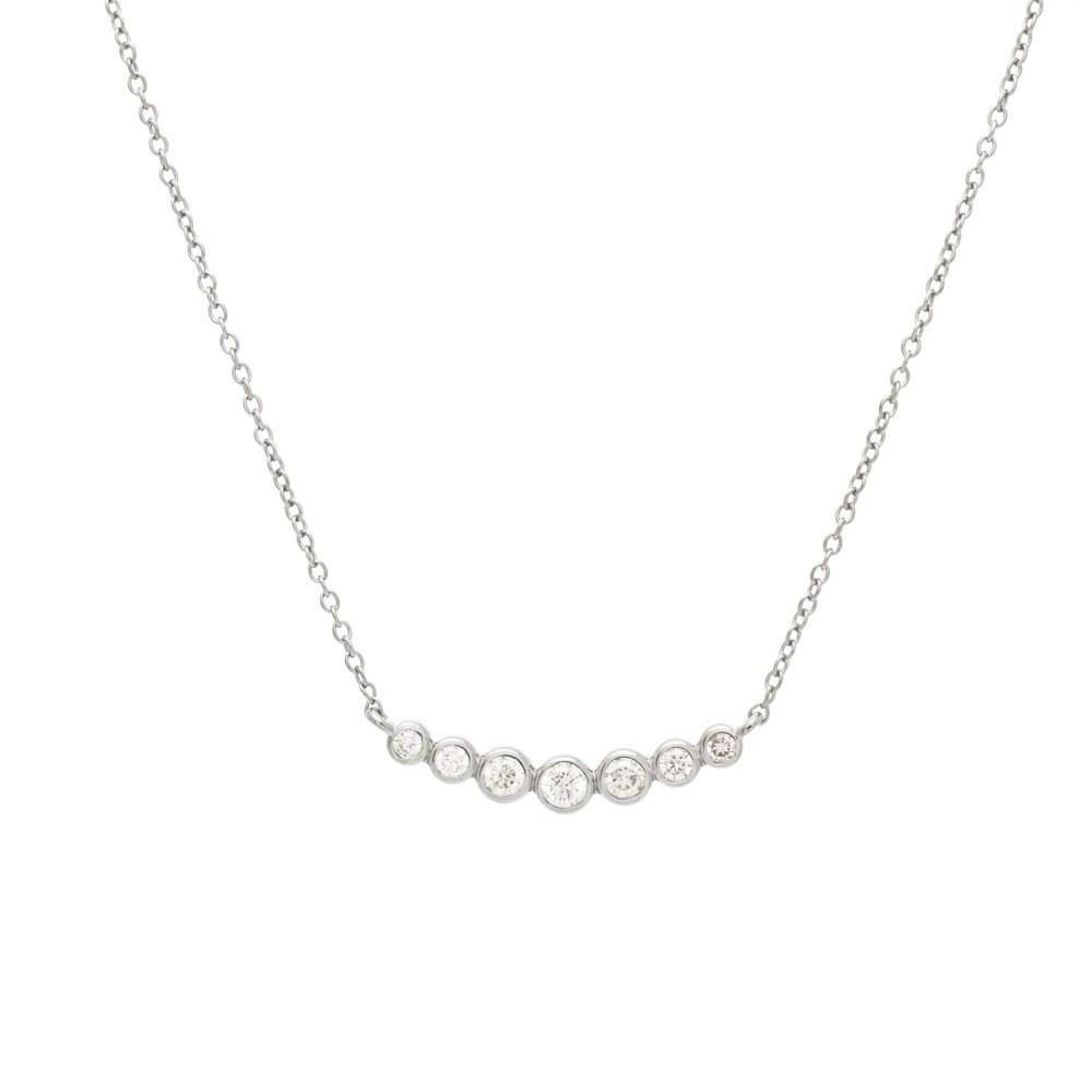 7 Diamond Graduated Bezel Set Necklace Sterling Silver