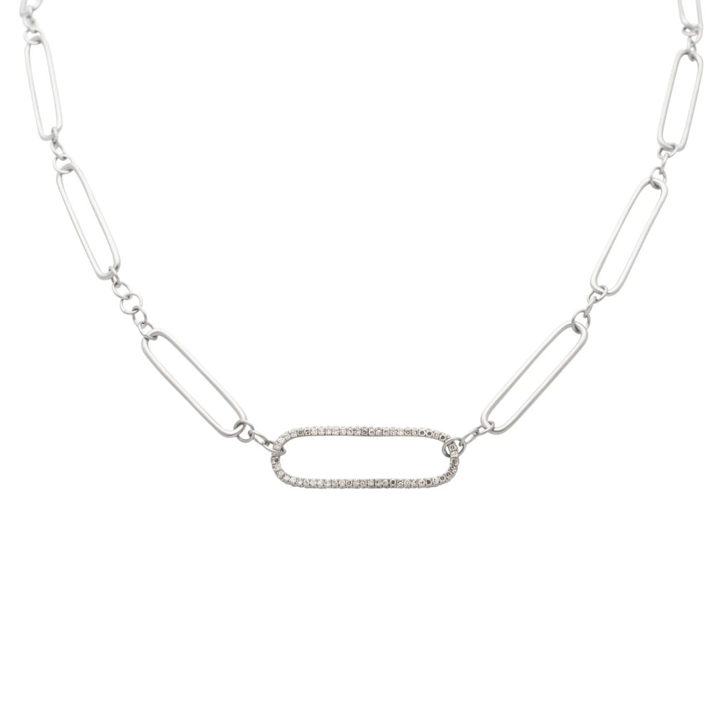 Diamond Oval Link Matte Silver Chain Necklace Sterling Silver
