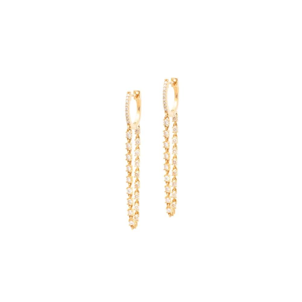Diamond Tennis Chain Huggies Yellow Gold