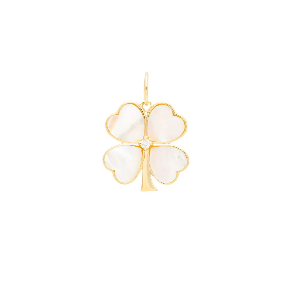 Mother-of-Pearl Clover Charm Yellow Gold