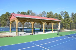 Shelter dividing two banks of 3 courts each at the Timken Courts at Leda Poore Park