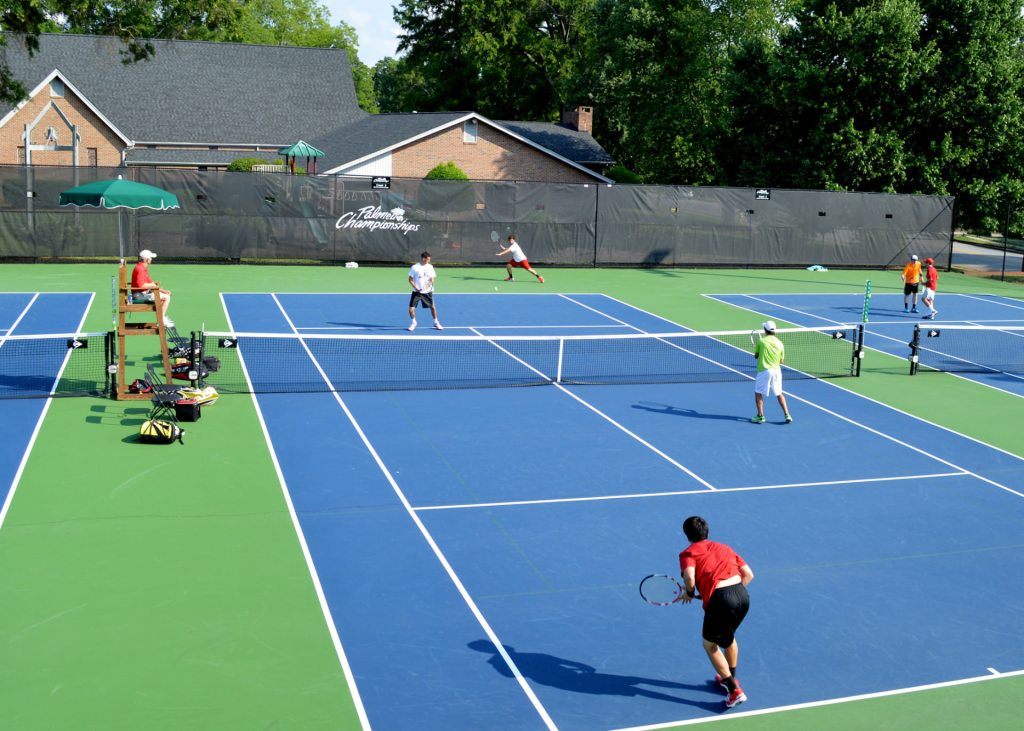 A doubles match during the 2014 Palmetto Championships