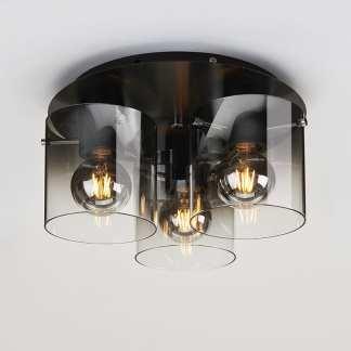 Roxy skinne med 3 pendellamper 100 Cm 3 x E27 Sort/Smoke | Belysning.online
