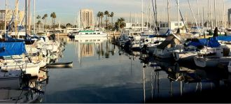 View of the waterfront and all the boats you can rent