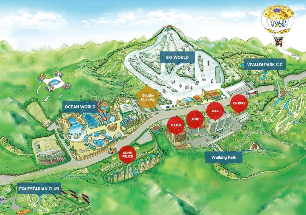 Vivaldi Park Ski World South Korea Map