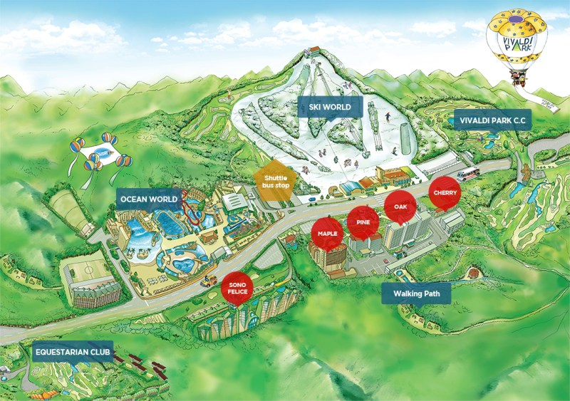 Vivaldi Park Ski World South Korea Map