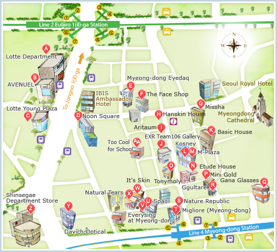 myeongdong shopping street map