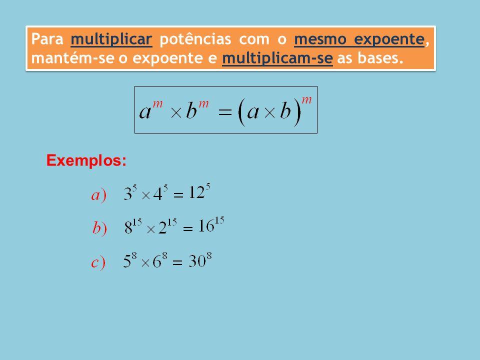 Multiplicação de potências. Regras operatórias – Ficha de Trabalho (1) – Soluções