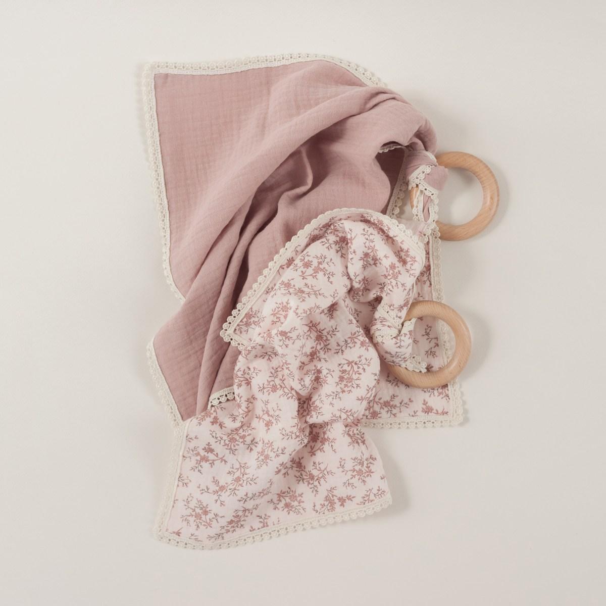 Pack muselinas pequeñas Algodón Orgánico Cotton Pleasures Bouquet Rosa empolvado