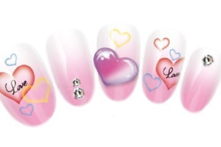 Valentine Nail Art with Decals and Tattoos