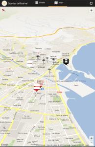 Mapa del festival de cine de Malaga