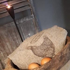 Shabby linnendoek kip 30 x 45 cm