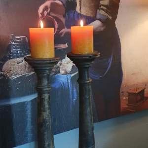 houten kandelaar - Benard's Woonaccessoires