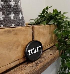 Zwart ijzeren toilet bordje - Benard's Woonaccessoires