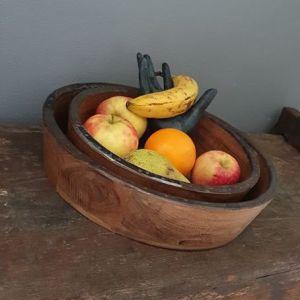 Schaal hout met ijzer beslagen - Benard's Woonaccessoires