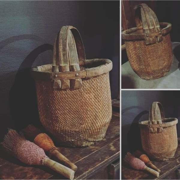 oude Chinese bamboe plukmand met handvat | Benard's Woonaccessoires