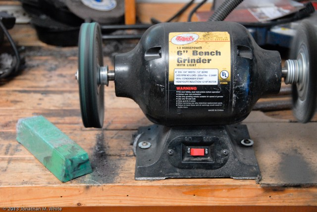 "My bench grinder with a Grizzly 6"" 60 ply spiral sewn buffing wheel and their green (fine) compound."