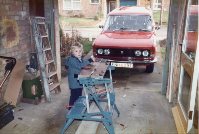 Here's me at about age 4 1/2, working with my tools at dad's workbench.