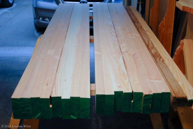 The quarters were glued up into halves with a strip of Sapele in between them.