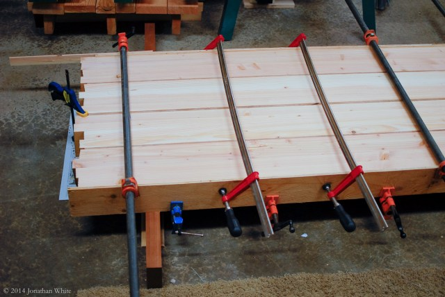 The two halves were glued together with a slightly thicker strip of Sapele running down the middle.