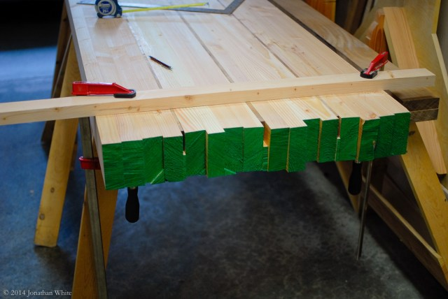 I set up a guide strip to act as a fence for the saw.