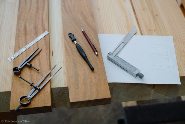 Some of the tools that I used to layout the dovetails.
