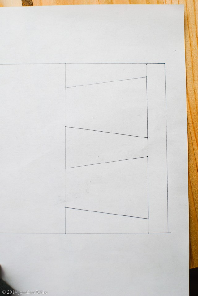 I drew the dovetails in actual size to see how it would look.
