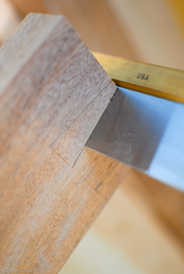 The dovetail saw bottomed out.