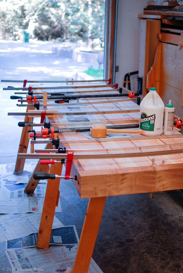 All the clamps on and left to dry.