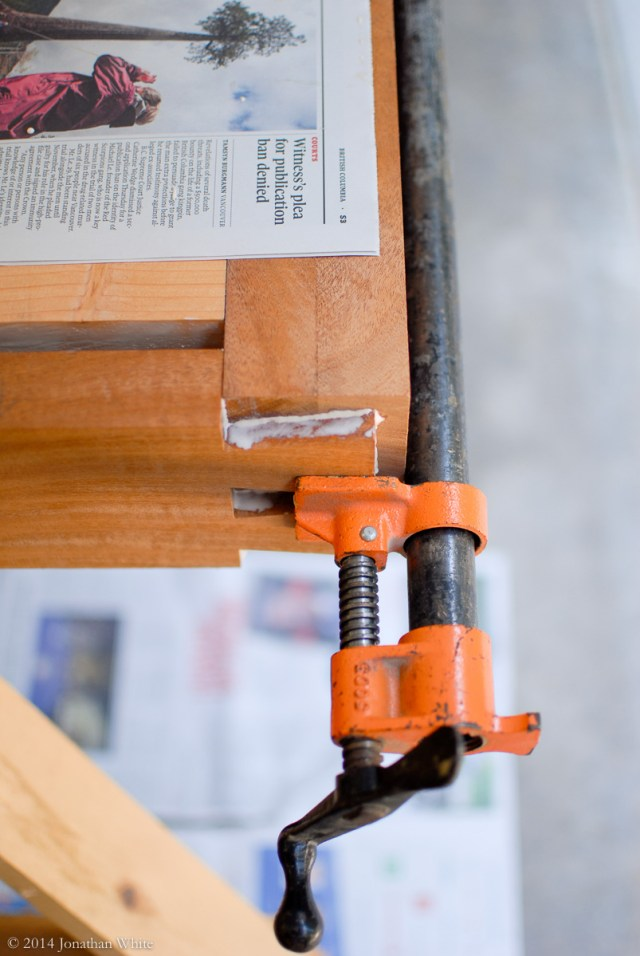 Instead of the mallet, I squeezed the joint closed with a clamp.