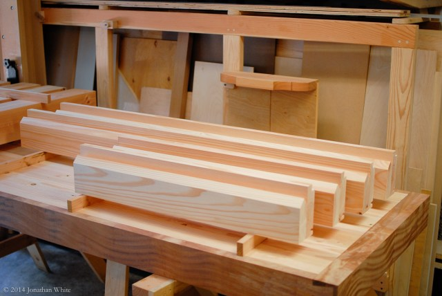 All the stretcher pieces cut and ready for glue-up.