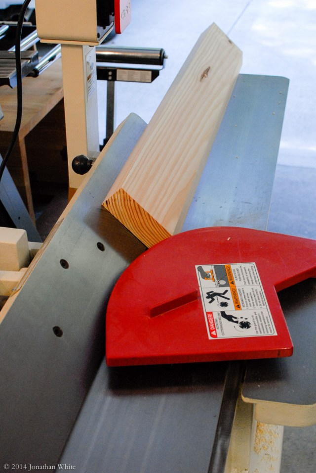 Cleaning up the saw marks at the jointer.