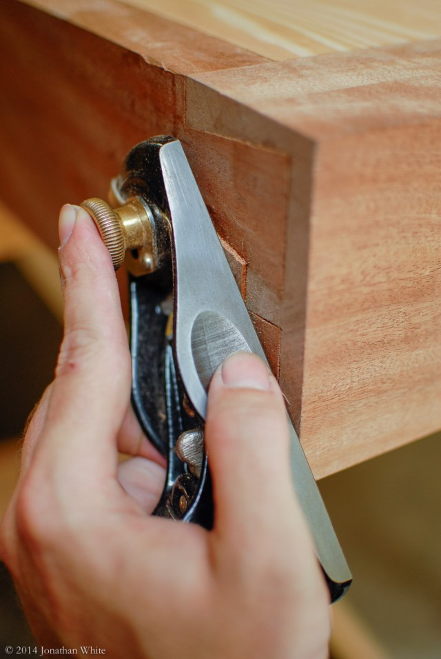 The block plane excels at flushing up two surfaces.