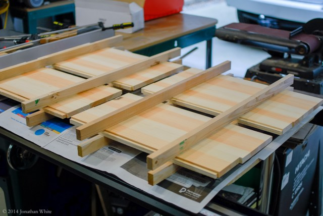 Preparing for a glue-up.