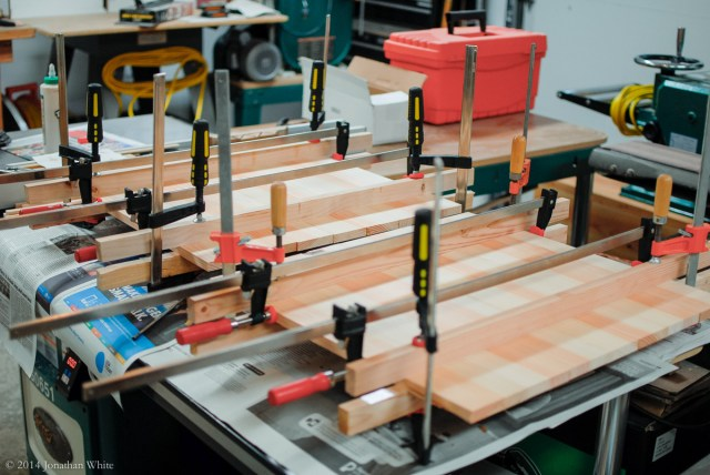 Back to the clamps and cauls to finish the glue-up.