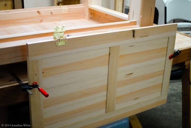 Setting up to install the hinges on the lid.