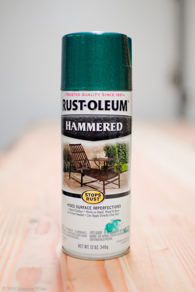 Rustoleum Hammered Paint in the Deep Green color.