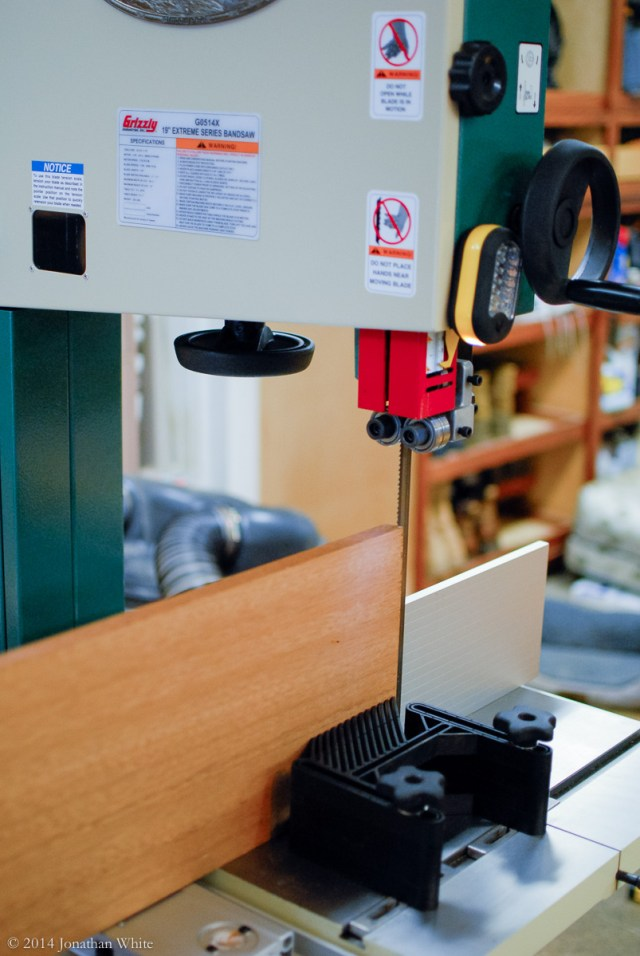 I setup the bandsaw for re-sawing.